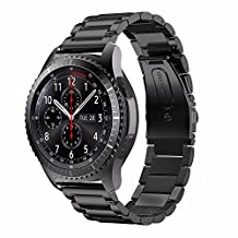Samsung Gear S3 Band, Stainless Steel 3 Beads Accurate Cutting Process Metal Replacement Bracelet Wristband Watch Band for Samsung Galaxy Gear S3 Frontier Classic Smart Watch -Black