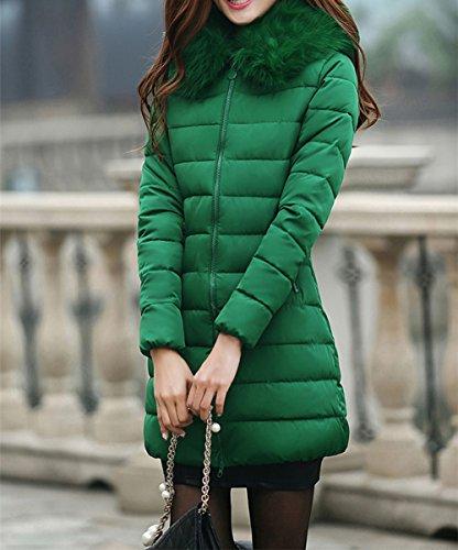 con Piel Jacket Capucha Chaqueta de Verde señoras Parka Autumn Warm Winter Capucha Invierno Coat Acolchada sintética Parka Ladies Chaqueta Las Scothen Capucha Larga Winter 1IT7qn