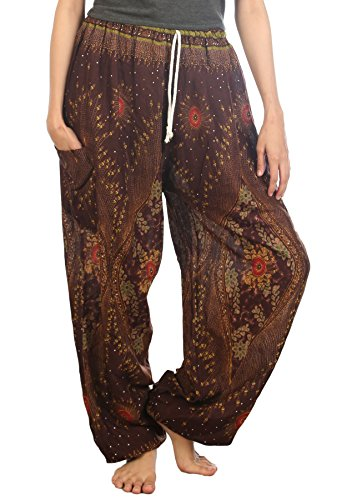 Lofbaz Mujeres Harén Pantalones de cintura de cordón Ropa Boho Yoga Floral 2 Marrón