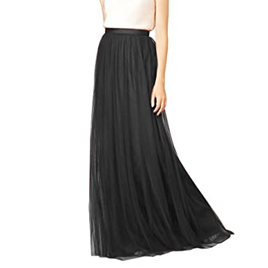 a86aca54e3 WDPL 3 Layers Soft Tulle Skirt Maxi Long Bridal Wedding Skirts for Women  (US 2