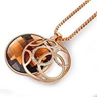 Classic Rose Gold Plated Round Pendant for Women Sweater Chain Necklace with Brown Austrian Crystals Fashion Jewelry Luxury Jewel Box Gift Packing - Three Layers Real 18K White Gold Vacuum Plating, Not Allergic. The Highest Quality for Fashion Jewelry. En