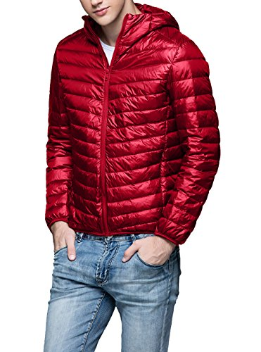 Men's Down Coat Hooded Packable Lightweight-Red-S (Red Puffer)