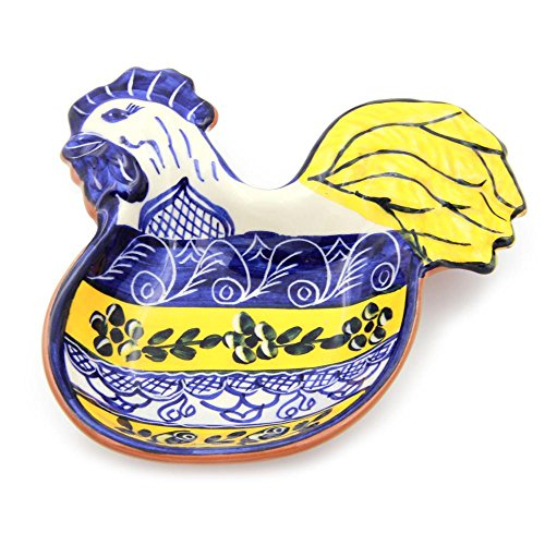 Hand-painted Vintage Traditional Portuguese Terracotta Rooster Olive Dish by Olaria Tavares