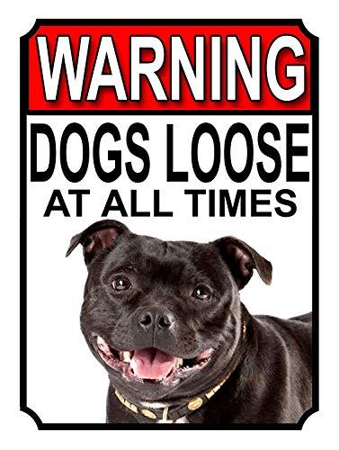 Warning Dogs Loose at all Times 金属板ブリキ看板注意サイン情報サイン金属安全サイン警告サイン表示パネル