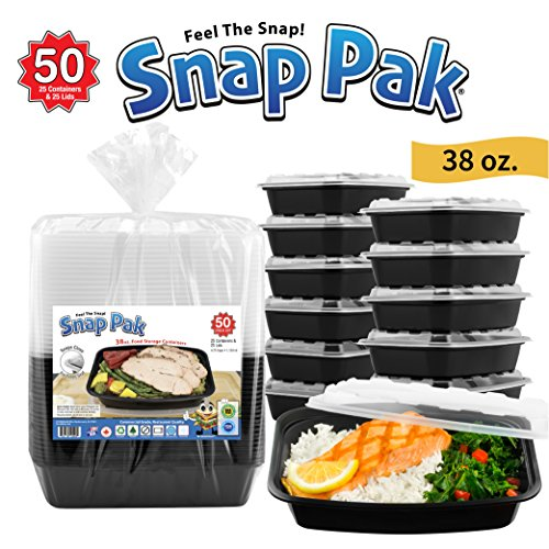 Snap Pak 12009 Rectangular Food Storage Containers 38 oz. Black/Clear 50 Piece Pack (25 Containers & 25 Lids)