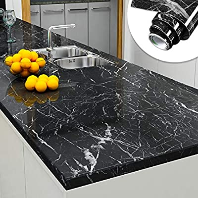 Yenhome 60cm X 3m Jazz Black Marble Contact Paper For Countertops