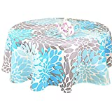 R.LANG Waterproof Tablecloth Tablecloth Oval 52 x 70-inch Spill proof Printing Tablecloth Sky Blue/Greay