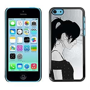 PC/Aluminum Funda Carcasa protectora para Apple Iphone 5C Girl Woman Profile Portrait Art Drawing / JUSTGO PHONE PROTECTOR
