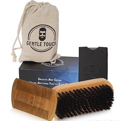 Beard Brush and Comb , PU Case & Magnetic Box & Cotton Bag, Gift Set For Men Kit, 100% Natural Boar Brush, All In One Facial Hair Grooming Kit By Gungila