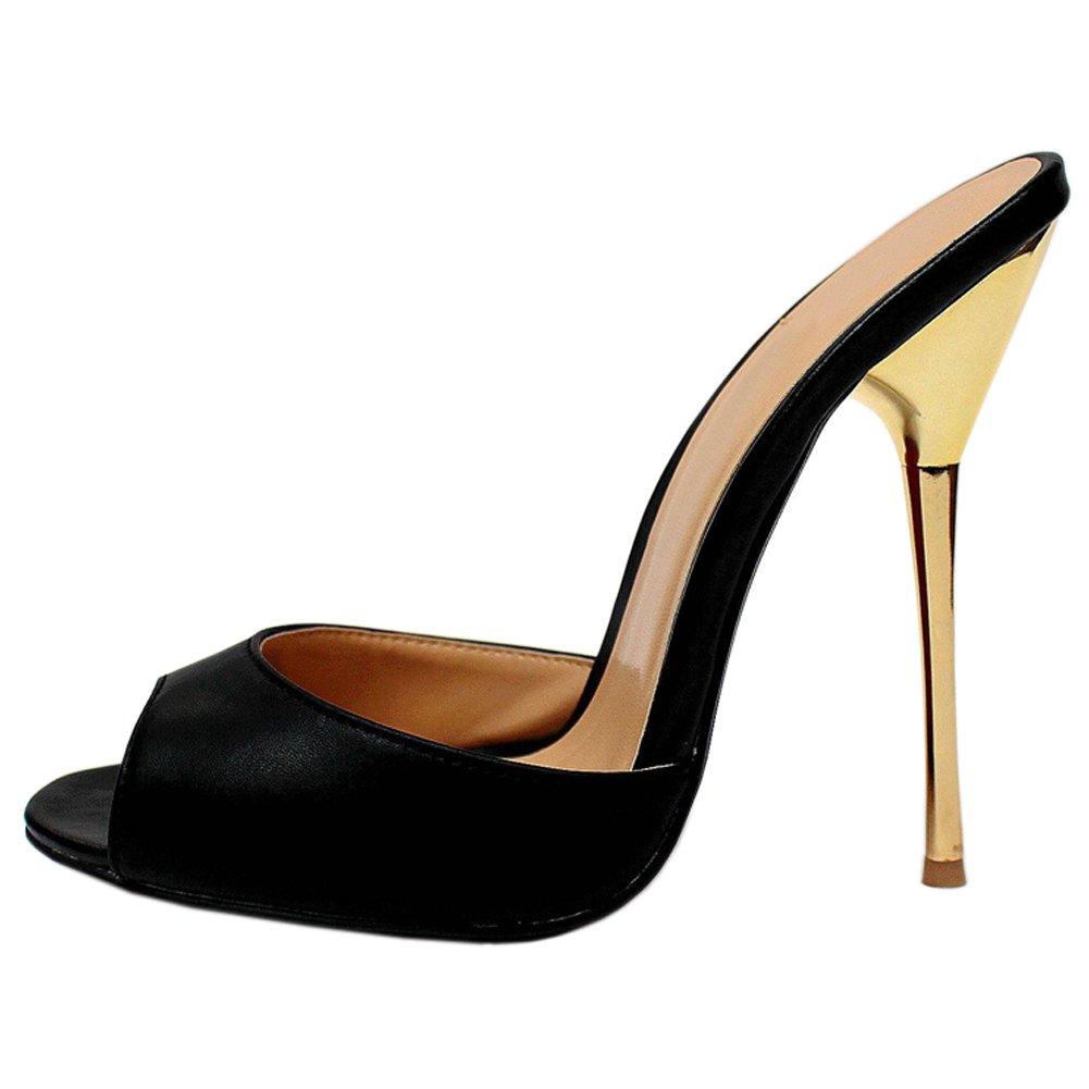 ece45eb538b fereshte Womens Slip High On Mule Slide Shoes Stiletto High Slip Heels  Sandals (Peep Toe + Pointy Toe) EU40 - US 8.5