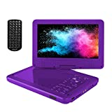 ieGeek 12.5'' Portable DVD Player 5 Hour Rechargeable Battery, 10.5 inch HD Swivel Screen, Support One-Key Mute Playing, Loop Playing, Memory Playing, Region Free, Purple