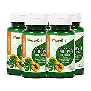Nutree Pure Advanced Papaya Leaf Extract 1100 mg with Goodness of Tulsi & Giloy (Natural Immunity Booster & Platelet Enhancer) – 30 Tablets (Pack of 5 Pcs)