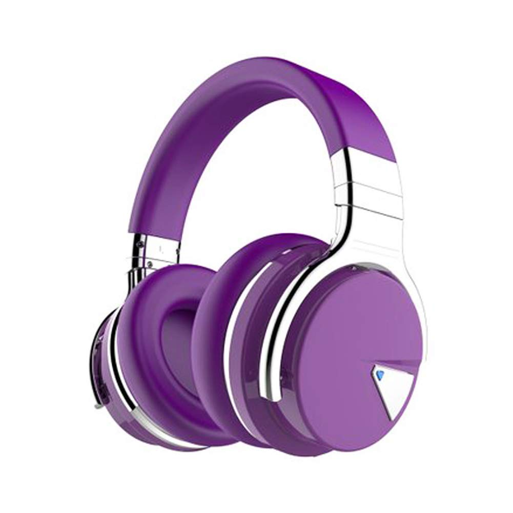 XHN Active Noise Cancelling Headphones, Over Ear Bluetooth Headphones Bluetooth 4.0 and NFC Features, 3D deep bass Sound, Ear Cushions for Comfortable All-Day Fit-Purple