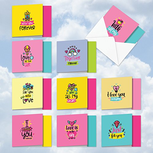 MQ5663VDG-B1x10 Box Set of 10 'Love Doodles Notes' Valentine's Day Greeting Card Featuring Images of Kind Love-Filled Messages For Everyone, with Envelopes -