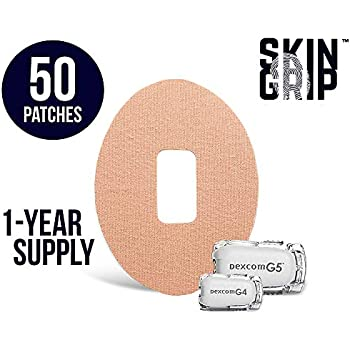 Skin Grip Adhesive Dexcom G5 G6 Patches 1-Year Supply [50-Pack] | Pre-Cut & Compatible with G4 G5 G6 | Premium Constant Glucose Monitor Sensor Protection ...