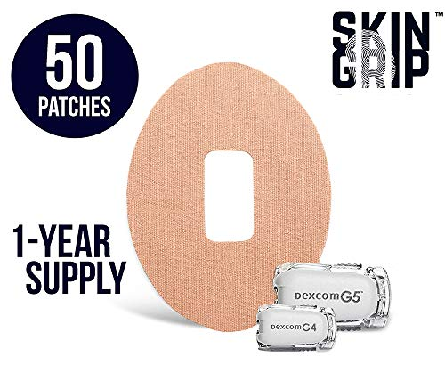 Skin Grip Adhesive Dexcom G5 Patches 1-Year Supply [50-Pack] | Pre-Cut & Compatible with G4 G5 G6 | Premium Constant Glucose Monitor Sensor Protection for Diabetics | Waterproof & Hypoallergenic