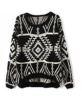 Vobaga Women's Long Sleeve Geometric Pullovers Sweater