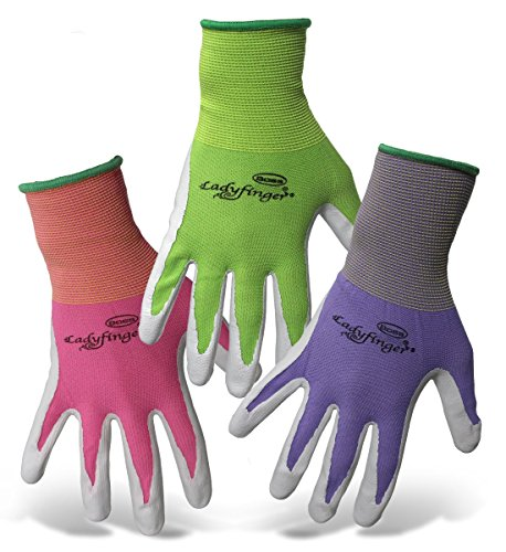 3 pair Ladyfinger nitrile palm garden gloves for women 3 Colors (X-Small) by AAAmercantile