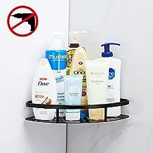 Gricol Bathroom Shower Shelf Triangle Wall Shower Caddy Space Aluminum Self Adhesive No Damage Wall Mount (Black 98503H)