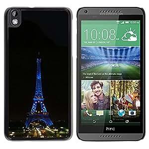 """For HTC DESIRE 816 , S-type Arquitectura Torre Eiffel Tour de Noche"""" - Arte & diseño plástico duro Fundas Cover Cubre Hard Case Cover"""