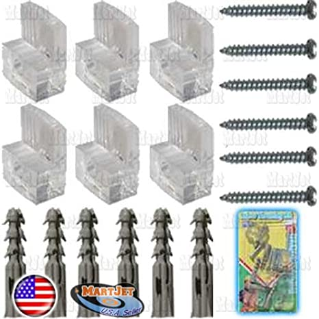 Pack of 6 Mirror Clip with Screw and Anchor Modern Clear