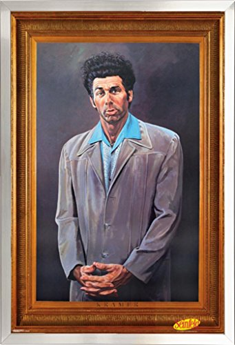 FRAMED Seinfeld - Kramer 24x36 Poster in Real Wood Brushed Nickel Finish Crafted in USA