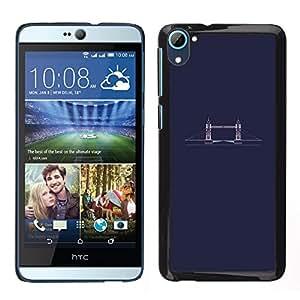 HTC Desire 826 dual Único Patrón Plástico Duro Fundas Cover Cubre Hard Case Cover - Bridge Minimalist Blue Dark