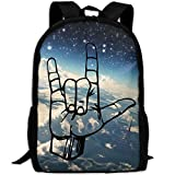 OIlXKV American Sign Language I Love You Kid Print Custom Casual School Bag Backpack Multipurpose Travel Daypack For Adult