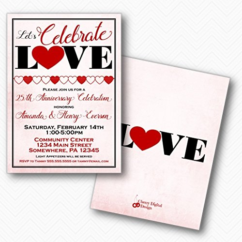 - Lets Celebrate Love Anniversary Party Invitations | Envelopes Included