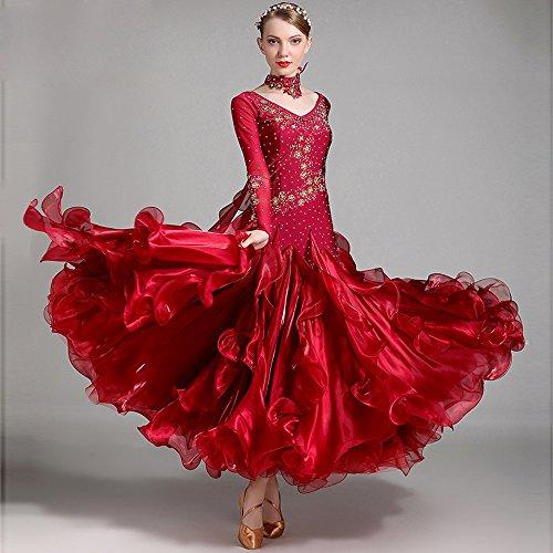 Traje Gran Señora Moderna Baile Vestido De Mangas Con Bordado Y Rhinestones Moderno Largas Péndulo Red Vals Ztxy Falda Mano Correa Competencia Tango 5ERdw5q