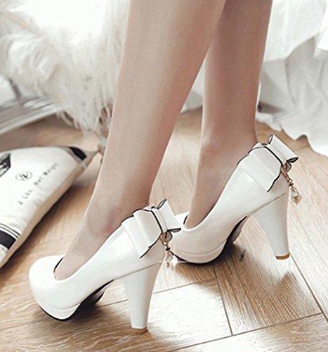 Pour Femme Mariage Aisun Rond Bout Blanc Escarpins Elégant Chaussures q1tTp