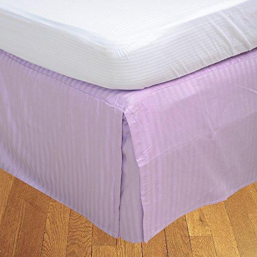 LaxLinens 600 fils cm²-Finition élégante 1 jupe plissée chute de lit Longueur    15 UK Double cm, Lavande, violets 100%  coton