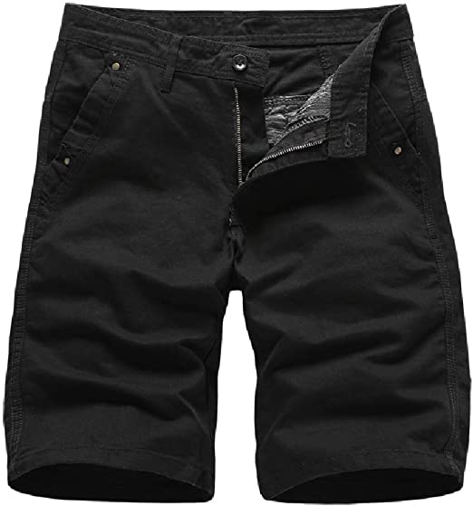 AngelSpace Men Straight Half Pants Pockets Summer Relaxed Fit Short Pants