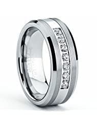 Metal Masters Co.® Tungsten Carbide Men's Engagement Wedding Band Ring with Stainless Steel Center,Cubic Zirconia 8mm, Sizes 7 to 13