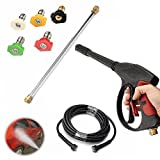 GDAE10 Power Pressure Washer 3000PSI Portable High Pressure Car Power Washer Spray Sprayer Gun with Wand Hose 5 Tips for Homes, Cars, Driveways (US Stock)