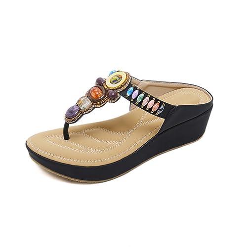 0eac4fc9560 Ruiren Sandalias de Cuña de Beep Bohemio de Las Mujeres Zapatos de ...