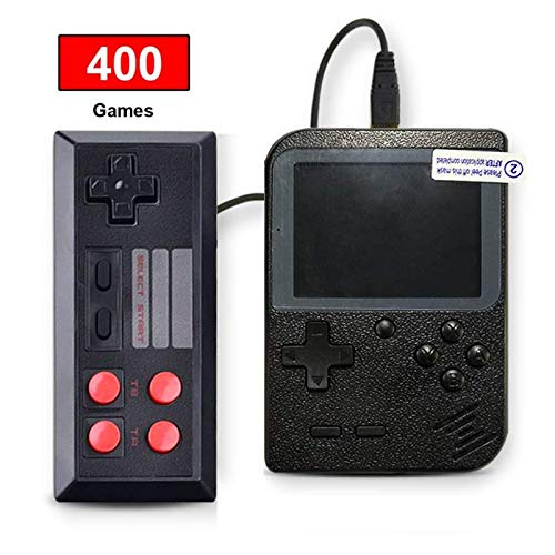 SeeKool Retro Handheld Games Console, Kids Portable Gameboy with 400 Classic NES FC Game, 3 Inch Color Screen, 800mAh Rechargeable Battery, TV AV Output, Christmas Birthday Gift for Boys Girls (Black)