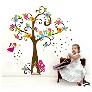 """Ebest - Peel & Stick PVC Wall Decals/Sticker - Fairy Tree, Layout Size 23 5/8 x 35 7/16"""" (Can Be Used Again After Peel 0ff)"""