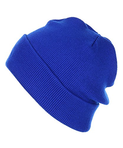 RufnTop Thick Plain Knit Beanie Slouchy Cuff Toboggan Daily Hat Soft Unisex Solid Skull Cap(Royal Blue One Size)