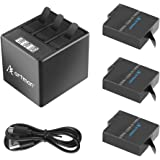 A Artman GoPro Hero 5/6/7 1500mah Replacement Batteries(3 Pack) and 3-Channel LCD USB Storage Charger With Type-C Port For GoPro Hero 7 Black,Hero 5,Hero 6 Black,2018(Fully Compatible With Original)