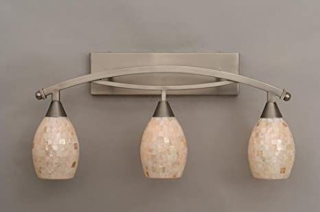 seashell bathroom lighting fixtures. 3-light bath bar with 5 in. ivory glaze seashell shade bathroom lighting fixtures amazon.com