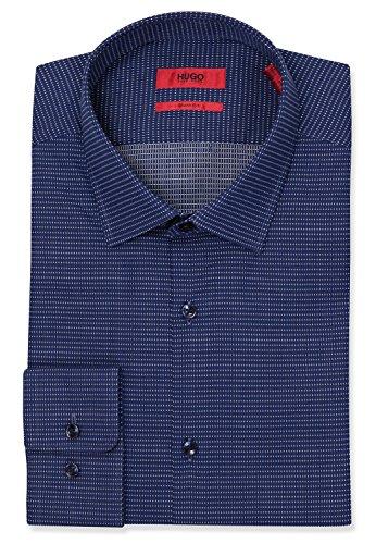 HUGO by Hugo Boss Hugo Men's Sharp Fit Dress Shirt with Modified Point Collar, Navy, 14.5R