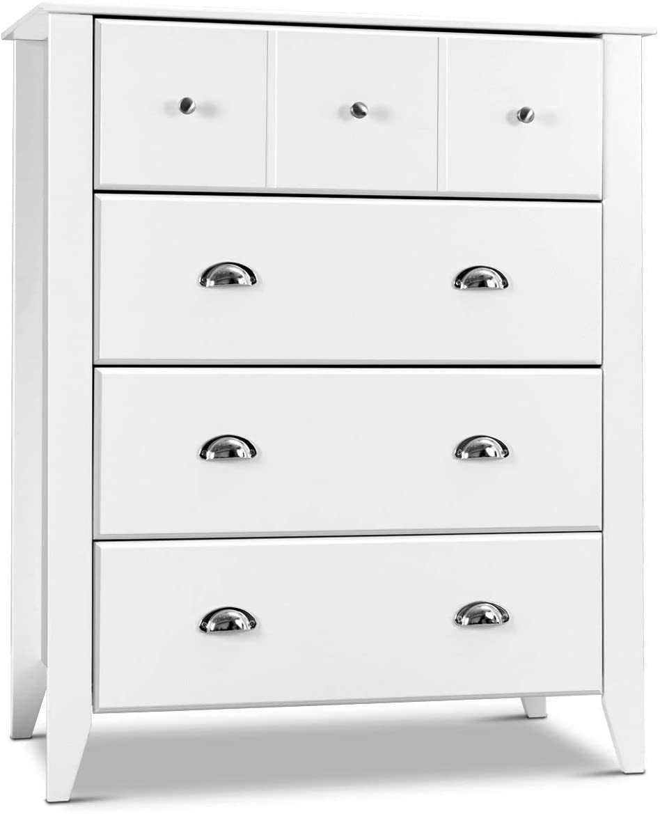 Giantex Bedroom Chest Drawer Dresser Accent Armoires 4 Drawers Metal Handle  Home Stylish Furniture Modern Room Decor Universal Storage Cabinet, White  ...