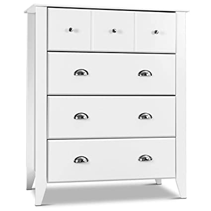 Giantex Bedroom Chest Drawer Dresser Accent Armoires 4 Drawers Metal Handle Home Stylish Furniture Modern Room Decor Universal Storage Cabinet White