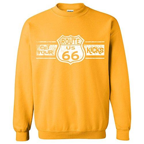 CRAZYDAISYWORLD Route 66WHITE LOGO Unisex Crewneck Gold -