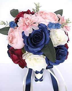 Amazon wedding flowers silk bridal bouquet red white cascade 21 wedding bouquet 17 piece package bridal bouquets silk flower bouquet navy pink blush burgundy blue bridal mightylinksfo