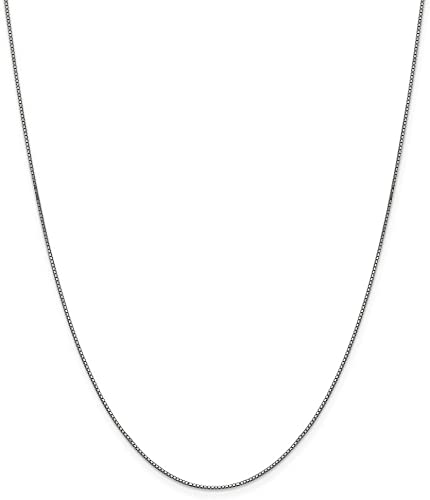 Mia Diamonds 10k White Gold .90mm Box Chain Necklace