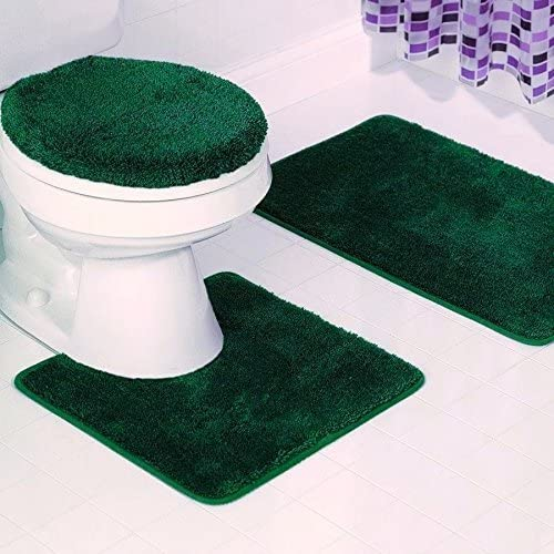 SOLID BATH RUG CONTOUR MAT TOILET LID COVER BATHROOM SET 3PC HUNTER GREEN #6