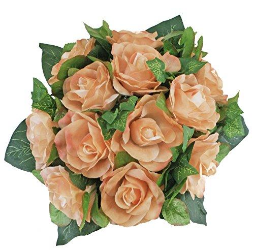 Peach Silk Rose Nosegay - Bridal Wedding Bouquet (Bouquet Bridal Nosegay)