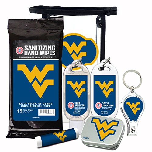 West Virginia Mountaineers 6-Piece Fan Kit with Decorative Mint Tin, Nail Clippers, Hand Sanitizer, SPF 15 Lip Balm, SPF 30 Sunscreen, Sanitizer Wipes. NCAA Gifts for Men and Women